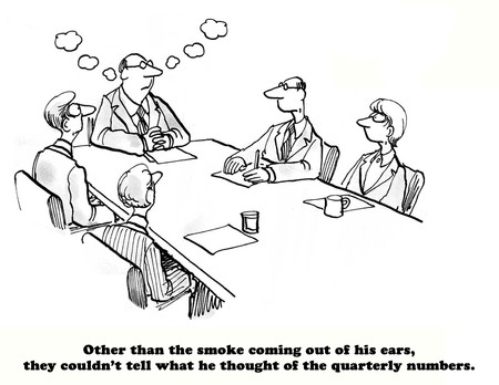 quarterly: Business cartoon about smoke coming out of the bosss ears because quarterly sales are down. Stock Photo