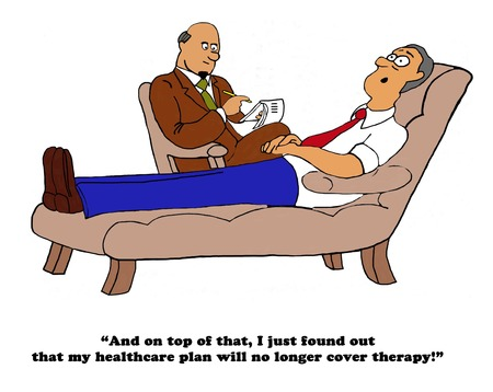 Medical cartoon about a therapy patient who has lost his medical insurance coverage for therapy. Stock Photo