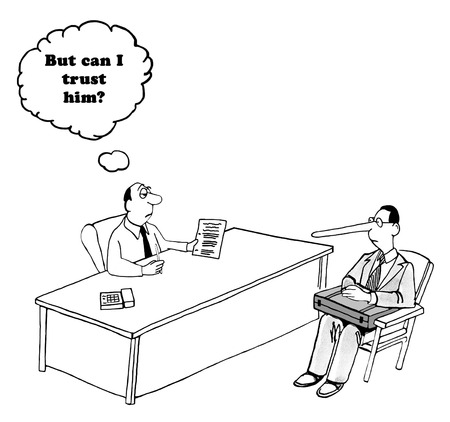 truthful: Business cartoon about a man with a long nose, can he be trusted?