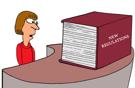 memorize: Business or government illustration about a huge book of New Regulations. Stock Photo