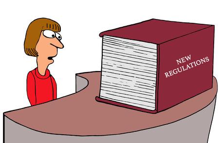 Negocios o el gobierno ilustración de un libro enorme de un Nuevo Reglamento. Foto de archivo - 70460816