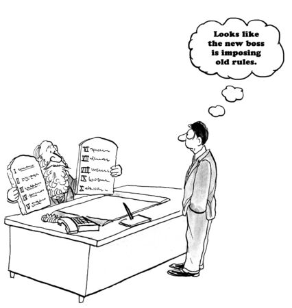 enforce: Business cartoon about enforcing old rules.