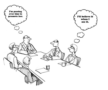 finally: Business cartoon about a boss who may finally promote a woman.