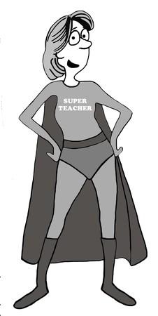 commitments: Education illustration of a Super Teacher.