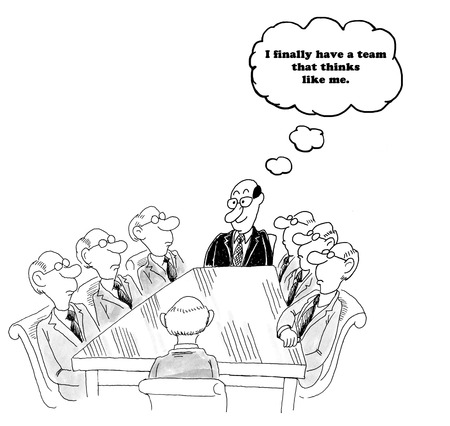 Business cartoon about team members that are all exactly alike.