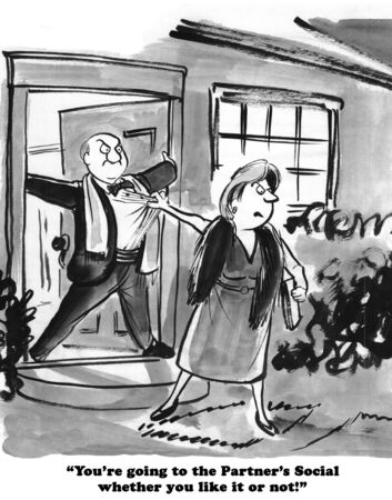 introverted: Illustration of a husband who does not want to attend a party.