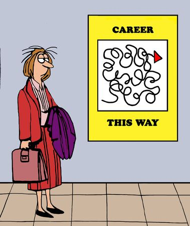 Business illustration of a tired businesswoman looking at a challenging career path.