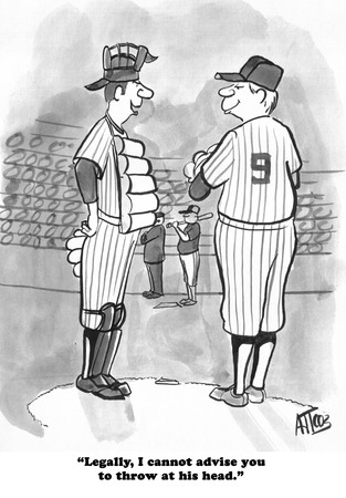 Cartoon about a catcher giving a pitcher legal advice.