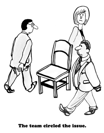 Business illustration of three businesspeople circling a chair.