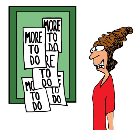 Illustration of a stressed businesswoman realizing she has 'more to do'.