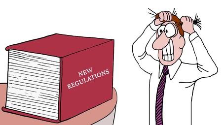 Historieta de un hombre de negocios que tira de su pelo hacia fuera mientras que él ve un libro enorme de nuevas regulaciones. Foto de archivo