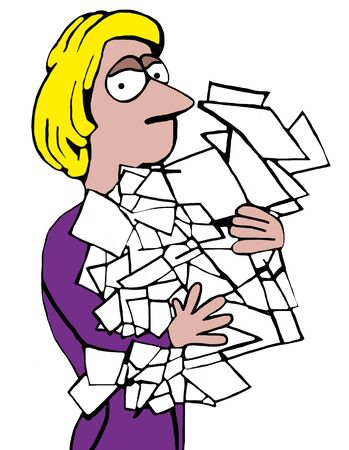 Color illustration of tired businesswoman holding many loose papers.