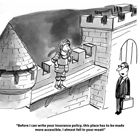 Insurance cartoon about not getting a home policy until the moat is fixed. Stok Fotoğraf