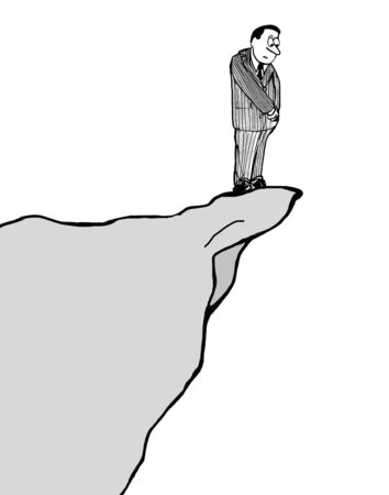Illustration of businessman peering off the edge of a cliff.