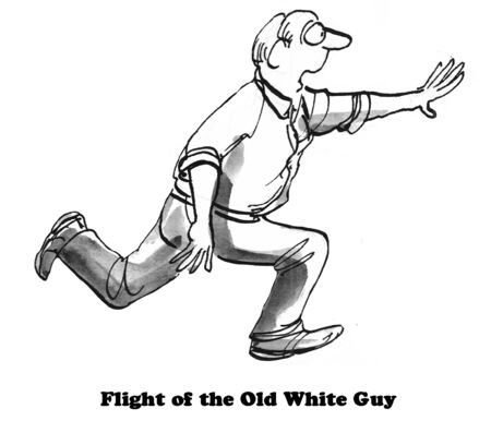 Illustration showing man running, flight of the old white guy.