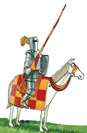 joust: Illustration of knight on horseback.