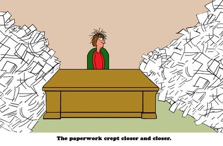 Bedrijfsbeeldverhaal over een zakenvrouw die beklemtoond wordt door al het papierwerk rondom haar bureau.