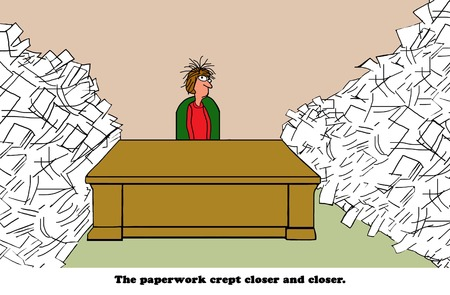 Business cartoon about a businesswoman stressed by all the paperwork surrounding her desk.