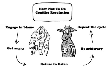 Polityczna kreskówka o konflikcie między republikanami a demokratami. Zdjęcie Seryjne
