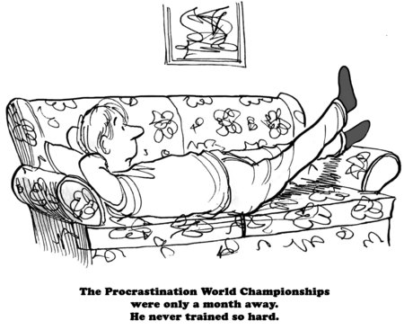 postpone: Cartoon about training for the Procrastination Championships.