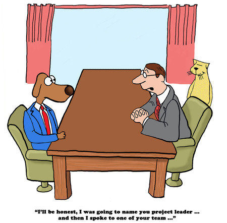 Business cartoon about a coworker who ruined his friends chance of promotion.