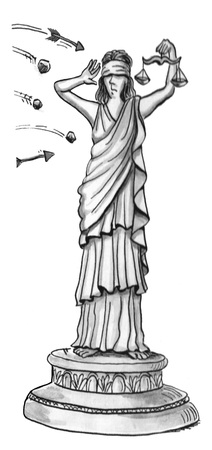 Illustration showing the Statue of Liberty being attacked by arrows.