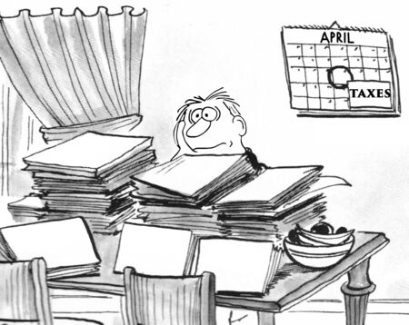 Illustration showing a man surrounded by papers trying to do his annual taxes. Imagens