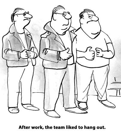 happy business team: Business cartoon about three team members who are also friends outside of work.