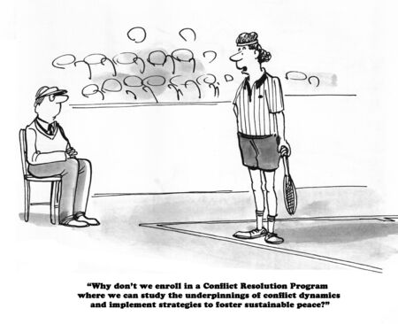 disagree: Sports cartoon about a tennis player trying to resolve conflict with a line judge. Stock Photo