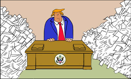 presidential: Political cartoon showing President Trump surrounded by paperwork. Stock Photo