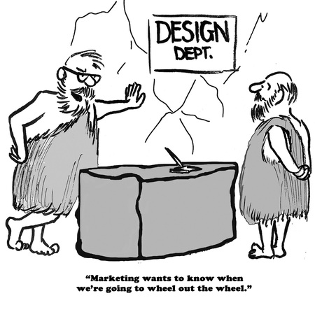Business cartoon of two stone age men who need to ...wheel in the wheel.