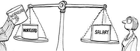 Ilustración comercial de la carga de trabajo que se duplica mientras que el salario se mantiene igual. Foto de archivo