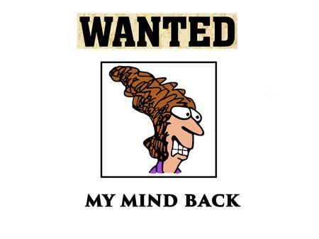 Cartoon illustratie van een gestresste vrouw die haar geest terug wil. Stockfoto