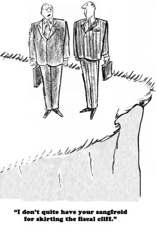 Politieke cartoon van een koelbloedigheid man geen zorgen over de fiscale klif.