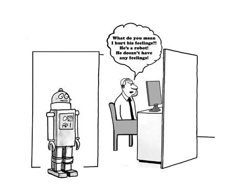 Cartoon di affari su un manager che crede che i robot non abbiano sentimenti.