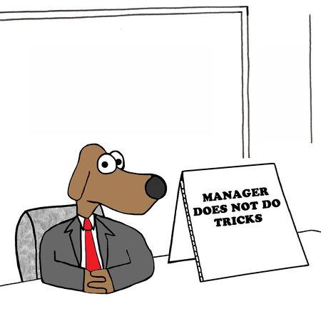 goofing: Business illustration of a manager who does not do tricks.