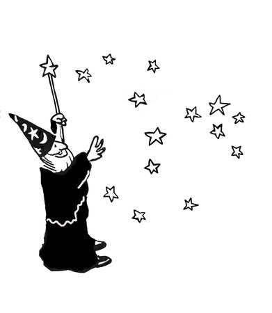 Cartoon illustration of wizard granting wishes.