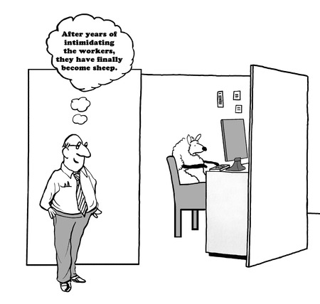 intimidating: Business cartoon about a boss so intimidating that the workers became sheep.