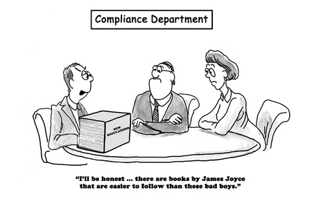 Business cartoon about the new regulations being as difficult to follow as a James Joyce novel.