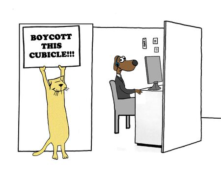 boycott: Business illustration of a worker encouraging others to boycott this cubicle.