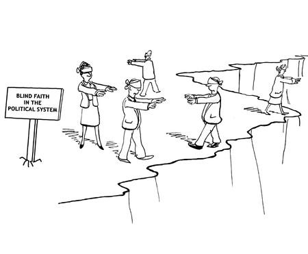poner atencion: caricatura política acerca de 'fe ciega en el sistema político'.