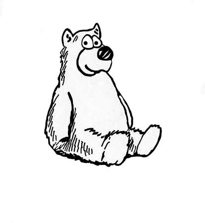 Cartoon illustration of a teddy bear.