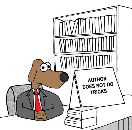 author: Cartoon illustration of an author that does not do tricks.