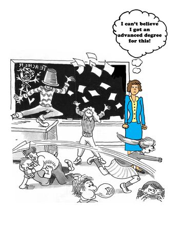 Education cartoon about a class out of control.