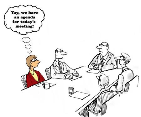 会議の議題を持っていることについてビジネス漫画。