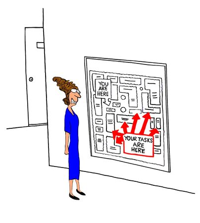 Business cartoon about a woman stressed by all her tasks.