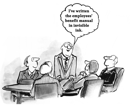 pennypinching: Business cartoon about an employee manual written in invisible ink.