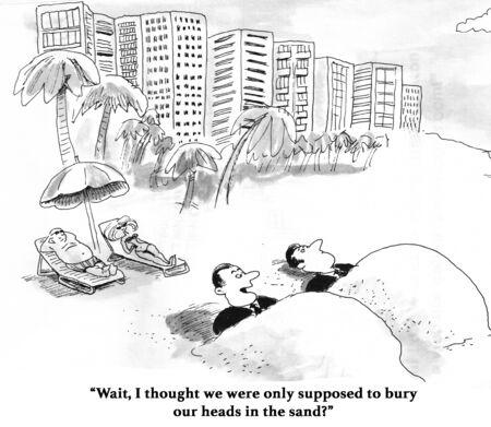 모래에 당신의 머리를 매장하는 것에 대 한 비즈니스 만화.