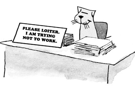 busy person: Sign on workers desk reads The work stops here.