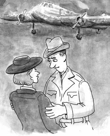Cartoon illustration of a couple parting ways.